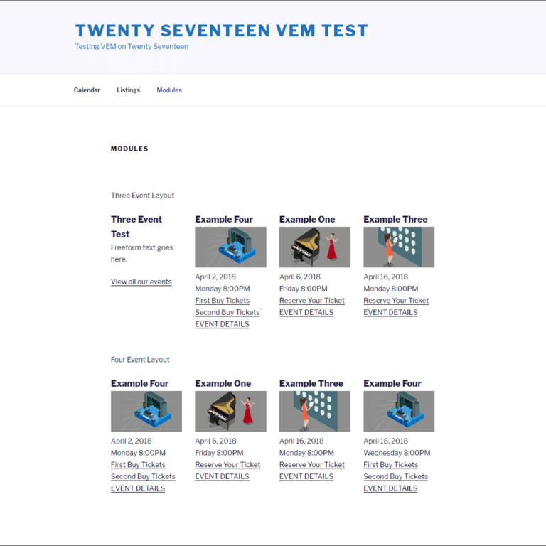 Twenty Seventeen VEM Modules