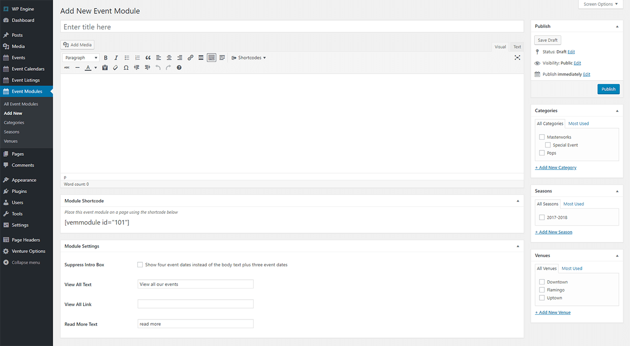 VEM Event Module Admin Panel